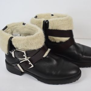 Women's Zara Leather Fur Lined Ankle Boots 38/8